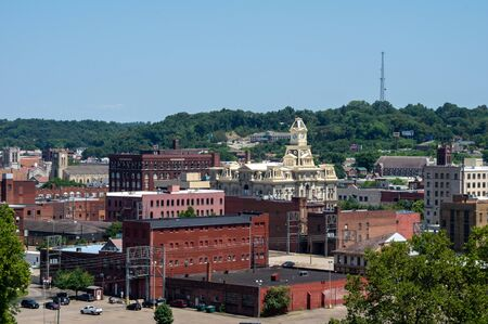 A high angle view of the city of Zanesville, Ohio. Stock Photo