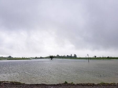 The flooded landscape of the Indian countryside during the monsoon season.