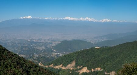 A background of the snow covered Himalaya Mountain Range in Nepal.