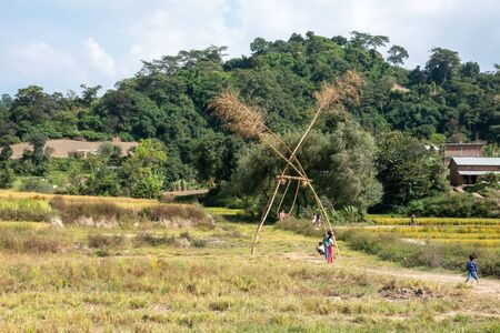 A bamboo swing that is constructed every Diwali Festival in Nepal.