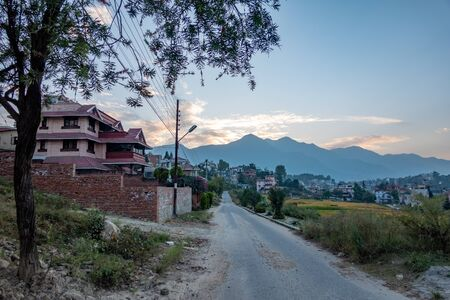 A beautiful evening in Kathmandu, Nepal as the sun is setting. Stock Photo