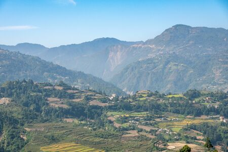 The beautiful farmland on the hillsides of the Himalaya Foothills in Nepal. Stock Photo