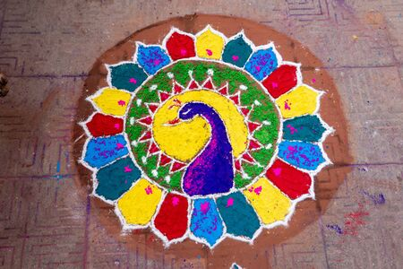 The Hindu festival of lights also known as Diwali when they create the rangoli.