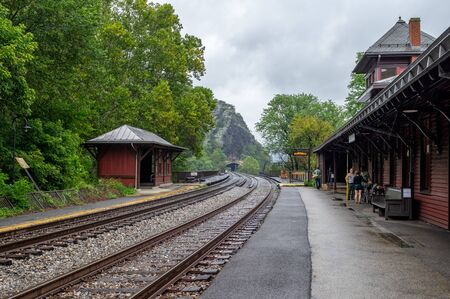 The railroad tracks and station at Harpers Ferry in West Virginia.