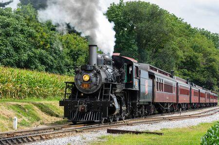 Strasburg, Pennsylvania - August 26, 2019: The trains at Strasburg Railroad in Strasburg, Pennsylvania. Redactioneel