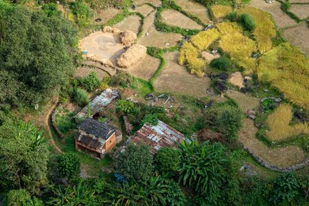 A small farm in the Nepal jungle as seen from the air. Stok Fotoğraf