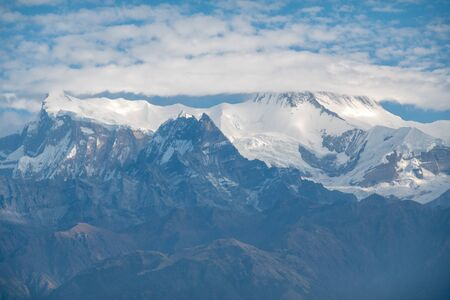 The beauty of the Snow Covered Annapurna II and IV in the Morning Light as seen from Pokahara, Nepal.