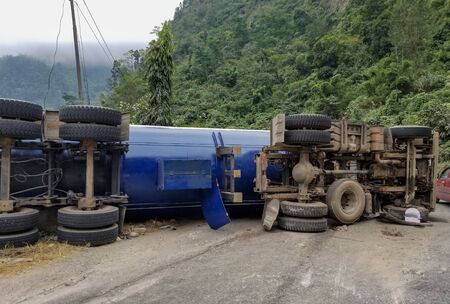 A Truck Overturned Causing Major Accident and insurance claim.