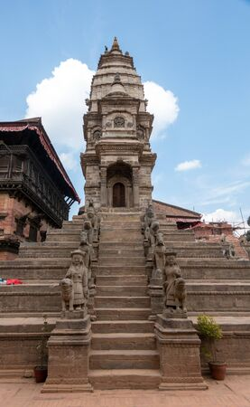 A Hindu temple in the old city of Bhaktapur, Nepal. Stok Fotoğraf