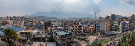 A Heavy Smog and pollution over the City of Kathmandu.