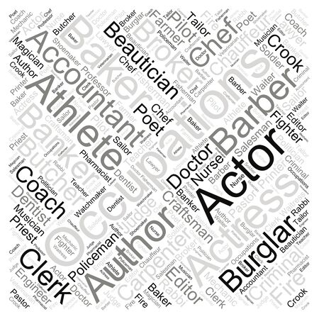 An Illustrative Word Cloud Art of Different Occupations and jobs in the world. Stock fotó
