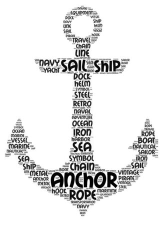 A Word Cloud Art poster illustration of a Ships Anchor and many different words.