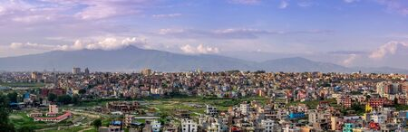 A panorama of the city of Kathmandu, Nepal in the light of the evening sunset.