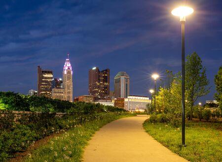 Columbus, Ohio - August 3, 2019: The nighttime skyline of Columbus, Ohio on August 3, 2019.
