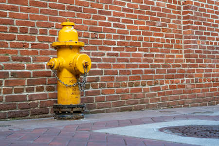 A Yellow Fire Hydrant against a red brick wall. Imagens
