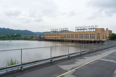 Safe Harbor, Pennsylvania - July 31, 2020: The Safe Harbor dam on the Susquehanna River.