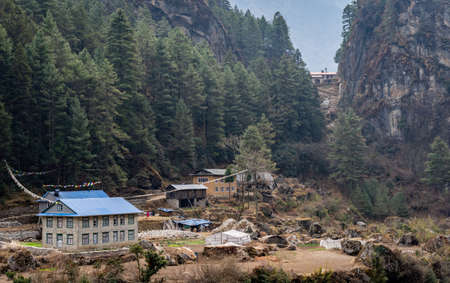 A small village along the trail in the Sagarmatha National Park in Nepal.