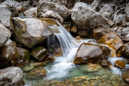 A small waterfalls among the rocks.