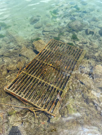 A Seaweed Covered Metal Grate in the pristine waters of a sea.