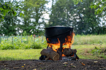 A cast iron cooking kettle over a wood fire in the outdoors.
