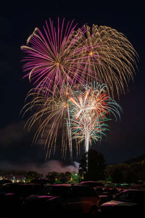 Big rockets and other fireworks exploding at the 4th of July Independence Day celebration.