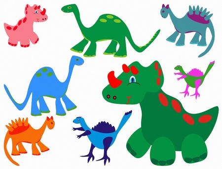 Állítsa aranyos vicces dinoszauruszok