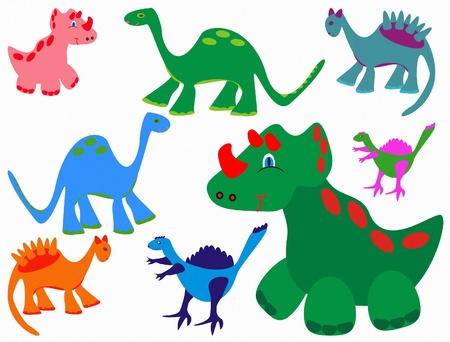 Set of cute funny Dinosaurs  Vector