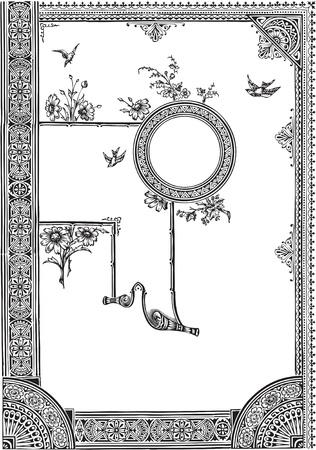 Vintage keretek és design elemek - a helyet a szöveges Illusztráció