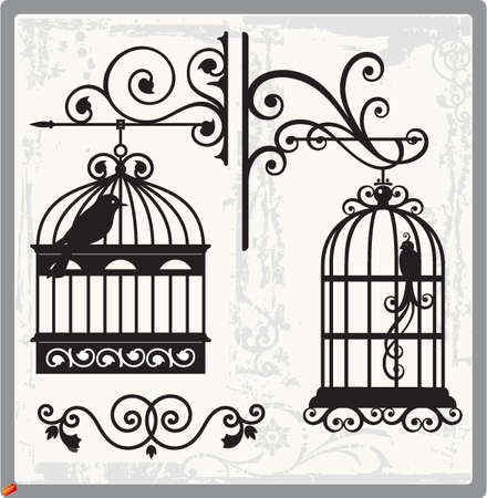 black bird: bird cages Illustration