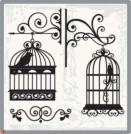 bird clipart: gabbie per uccelli Vettoriali