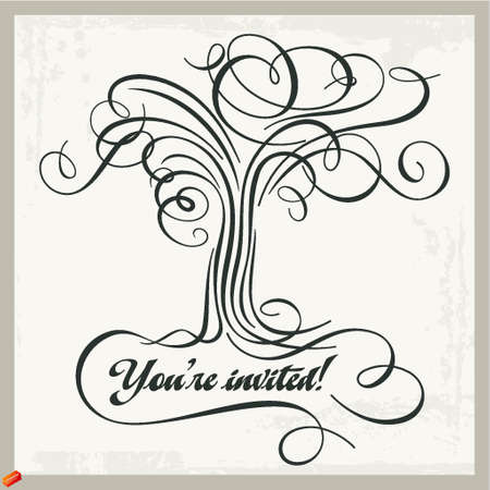 calligraphic tree panel Stock Vector - 18968428