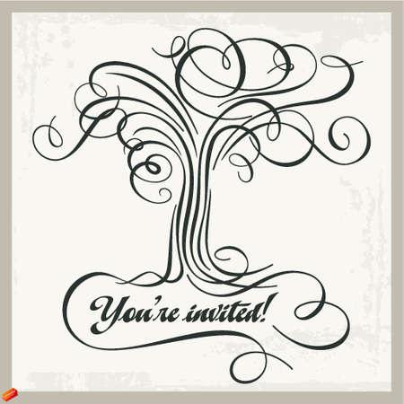 calligraphic tree panel Stock Vector - 18968428