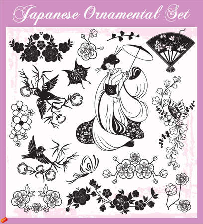 japanese garden: Japanese Ornaments Illustration