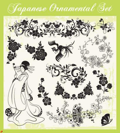 geisha kimono: Japanese Ornaments Illustration