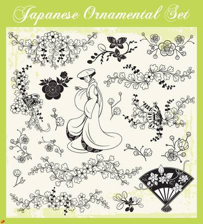 and tradition: Japanese Ornaments Illustration