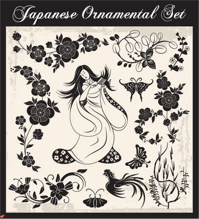 japanese kimono: Japanese Ornaments Illustration