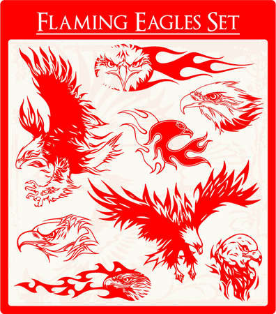 flaming: Eagle Vectors Illustration
