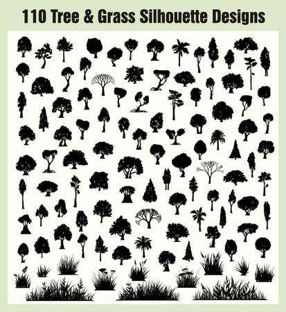 arbol de pino: Siluetas de �rboles Vectores