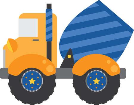 heavy construction: Blue Cement Truck