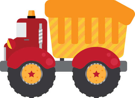 Red Construction Truck Vector