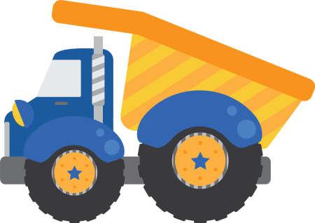 lorries: Dump Truck Blu Vettoriali