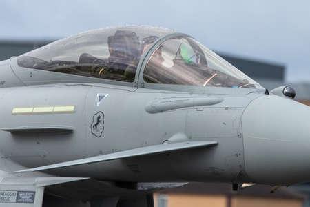 Closeup of the cockpit of an Italian Eurofighter Typhoon seen at RAF Waddington 4th September 2019. Редакционное