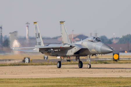Lovely sleek lines of the McDonnel Douglas F-15C can be seen here whilst on taxi at RAF Lakenheath, Suffolk, UK. Taken 12th Aug 2020. Sajtókép