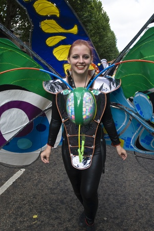notting: El protagonista de las Shademakers flotan en el Carnaval de Notting Hill 30 de agosto 2010 en Notting Hill, Londres.