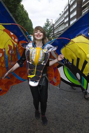 notting hill: Interprete dalle Shademakers galleggiare al Carnevale di Notting Hill 30 Agosto 2010 a Notting Hill, Londra.
