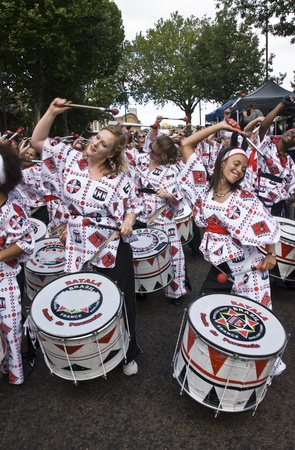 Drummers from Batala Banda de Percussao performing at the Notting Hill Carnival street parade on August 30, 2010 in Notting Hill, London Stock Photo - 12272249
