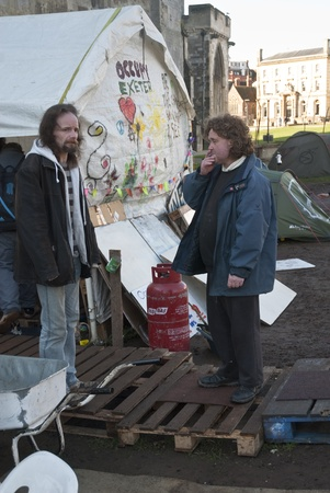 Occupy Exeter activists before their direct action against the Exeter branches of Topshop, HSBC and Vodafone. Stock Photo - 12272132