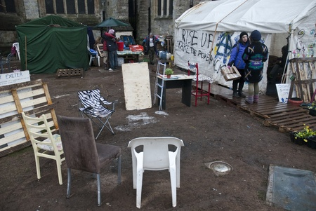 ows: The Occupy Exeter camp in the process of being cleared of Exeter Cathedral Green.