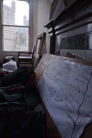 ows: A mind map and chart of what Occupy Exeter site 2 represents is fixed to a board in the guard room of Occupy Exeter site 2. Editorial