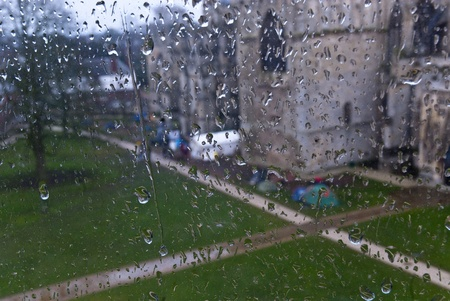 ows: A view of Occupy Exeter Camp on Exeter Cathedral Green from a rain soaked window in Occupy Exeter site 2 Editorial